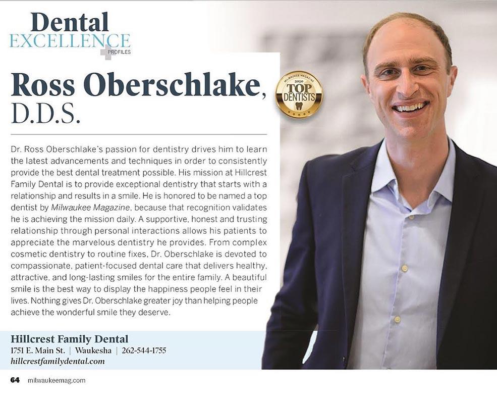 Dentist Waukesha WI Ross Oberschlake Awards